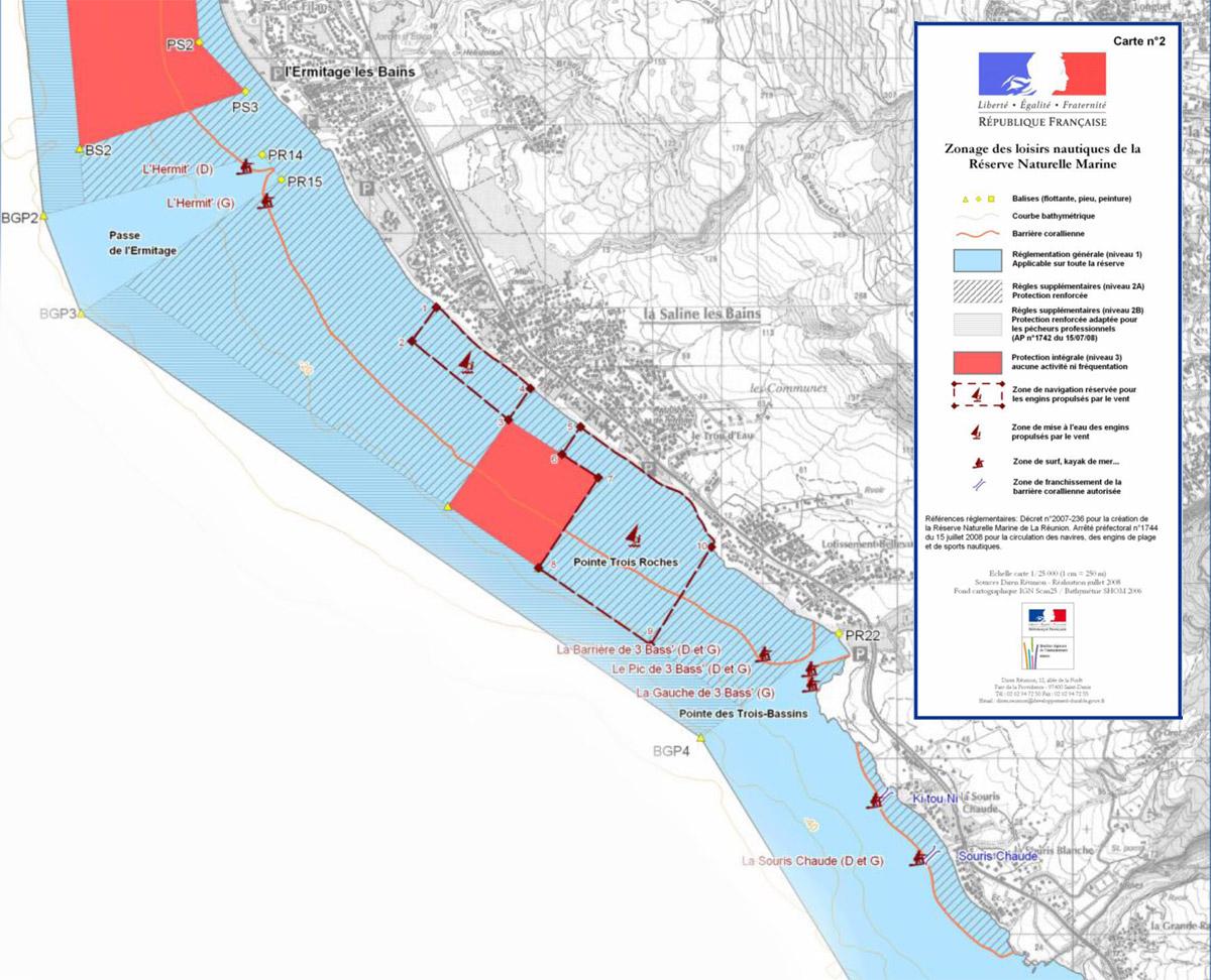 Zone de navigation kitesurf la Saline